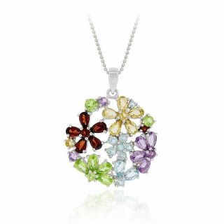 Glitzy Rocks Sterling Silver Multi gemstone Flower Cluster Necklace