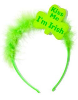 St Patricks Day Green Kiss Me Im Irish Furry Tiara Hat
