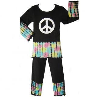 Ann Loren Girls Black Peace Tie dye Set