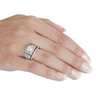 Silvertone Pave set Princess cut Cubic Zirconia Bridal style Ring Set