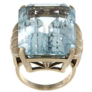 14k Yellow Gold Blue Topaz Cocktail Ring