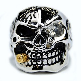 Stainless Steel Cubic Zirconia Skull and Bullet Ring