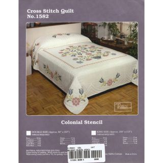 Tobin Colonial Stencil Stamped Cross Stitch Full Quilt Kit