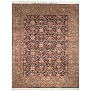 Asian Hand knotted Royal Kerman Purple and Green Wool Rug (6 x 9