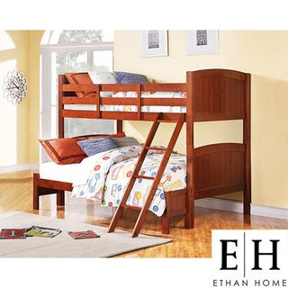 ETHAN HOME Armidale Mahogany Beadboard Twin Full Bunk Bed