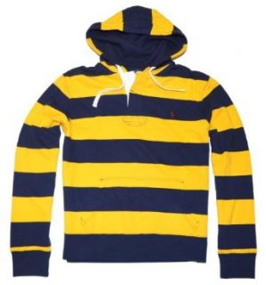 Polo Ralph Lauren Men Striped Pony Logo Hoodie (L, Navy