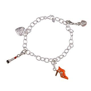 Sterling Silver Lipstick/ Shoe/ Nail polish Charm Bracelet