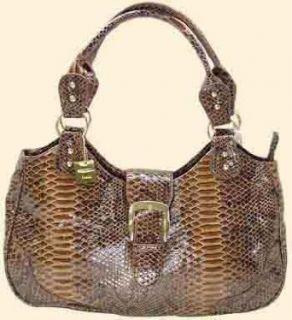 Designer Italian Brown Snake Skin Hobo Handbag (14.5 x 8