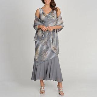 Soulmates Womens Grey Branch Print Silk Blend Sleeveless Cowl Dress