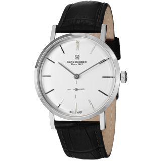 Revue Thommen Mens Classic Silver Dial Black Strap Automatic Watch