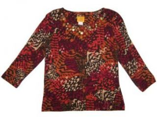 Ruby Rd Spice Is Nice 3/4 Sleeve Embellished Crewneck Top