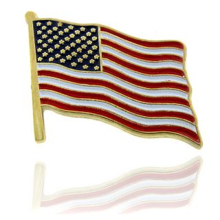 Goldtone Enamel American Flag Lapel Pin