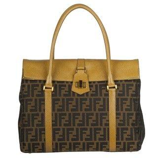 Fendi Zucca Brown/ Beige Canvas/Leather Shopper Bag