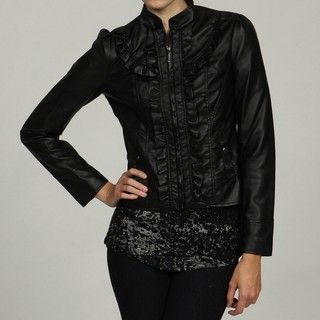 Honee Womens Black Stand Collar Ruffle Zip Front Coat