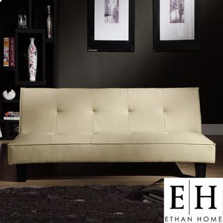 ETHAN HOME Bento Beige Faux Leather Modern Mini Futon Sofa Bed