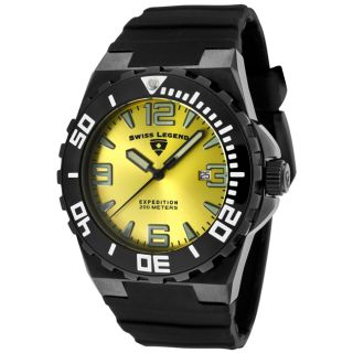 Swiss Legend Mens Expedition Yellow Dial Black Silicon Watch