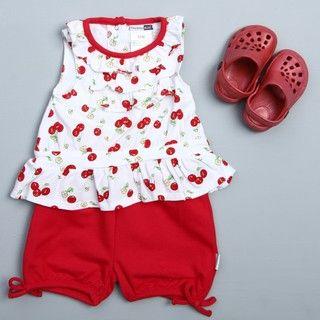 Vitamins Baby Infant Girls Red Cherry Print Set