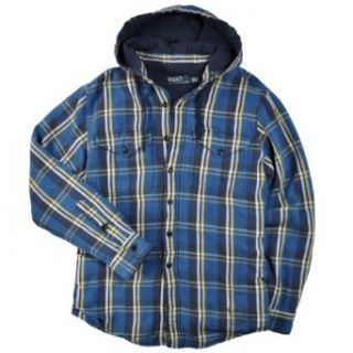 Polo Ralph Lauren Mens Hooded Plaid Shirt Jacket. Blue, S