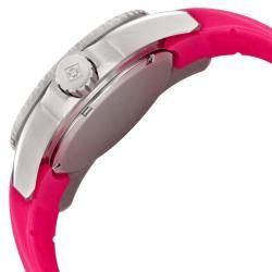 Invicta Womens Angel White Crystal Pink MOP Dial Pink Rubber Watch