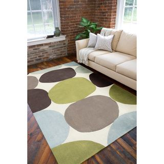 Hand tufted Contemporary Multi Colored Circles Abstract Rug