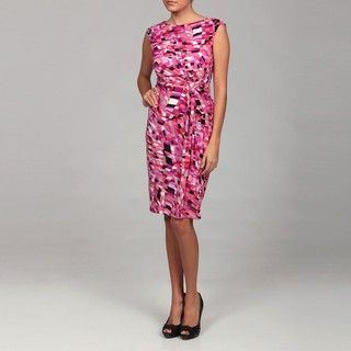 London Times Womens Soft White/ Pink Tie Dress