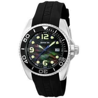 Invicta Mens Pro Diver Black MOP Black Polyurethane Automatic Watch