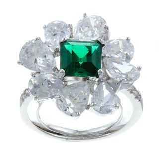 JARDIN Emerald Green and Clear Cubic Zirconia Adjustable Fashion Ring