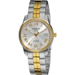 Tissot Mens PR 100 Silver Dial Two Tone Stainless Steel Watch