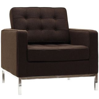 Florence Style Chocolate Brown Wool Armchair