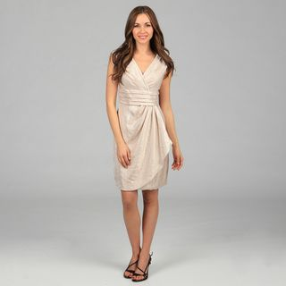 London Times Womens Oyster Shimmery Sheath Dress