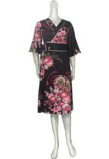Black Japan Floral Kimono Wrap Dress Clothing