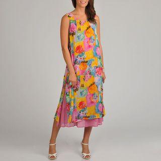 La Cera Womens Floral Print Side Button Layered Dress