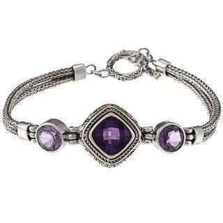 18k Gold and Sterling Silver Purple Amethyst Bracelet