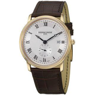 Frederique Constant Mens Slim Line Silver Dial Brown Strap Watch