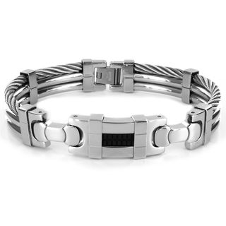 Stainless Steel Mens Cable and Black Rubber Center Bracelet