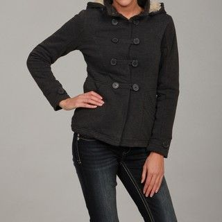 Dollhouse Womens Charcoal Faux Fur Fleece Jacket