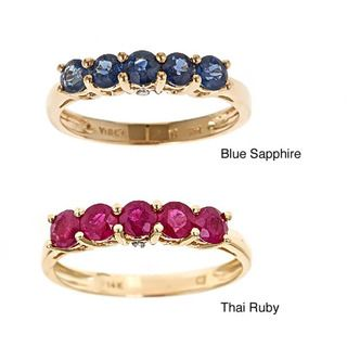Yach 14k Yellow Gold Blue Sapphires and Diamond Accent Ring
