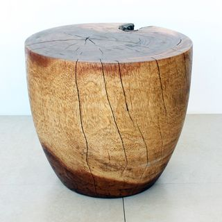 Monkey Pod Wood Walnut Oil finished Oval Drum End Table (Thailand
