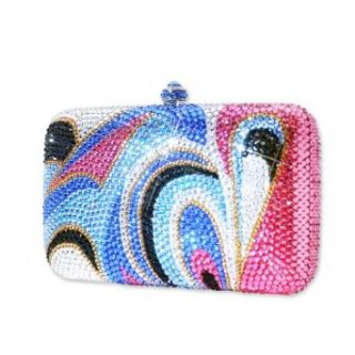 Multi Heart Swarovski Crystal Clutch Bag   Blue Clothing