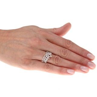 Sterling Silver 1/6ct TDW Diamond Crown Ring