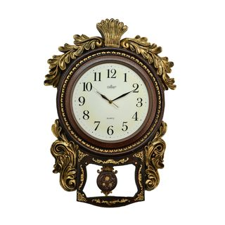 Fabulous Antique Polyresin Pendulum Wall Clock (27x19)