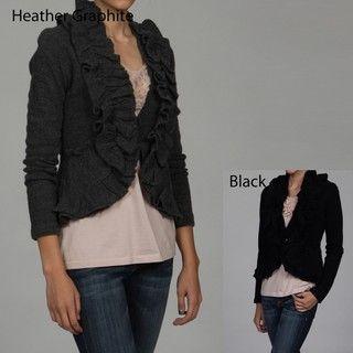 Grace Elements Womens Wool Ruffle Placket Cardigan