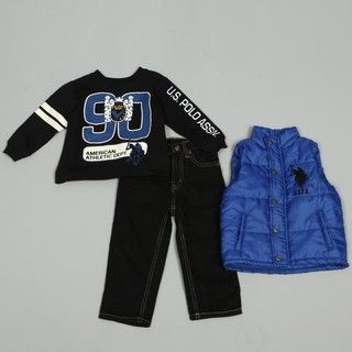 US Polo Association Toddler Boys 3 piece Puffer Vest Denim Set