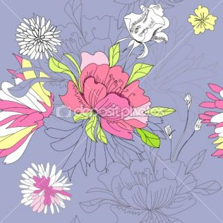 Seamless wallpaper with flowers  Vector Stock © Regina Jersova