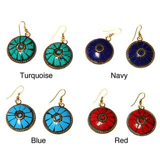 Brass Natural Stone Round Inlay Earrings (India)