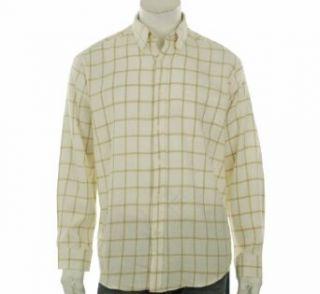 John Ashford Plaid Flannel Long Sleeve Shirt Mens Ivory