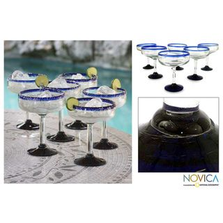 Set of 6 Blown Glass Blue Roots Margarita Glasses (Mexico