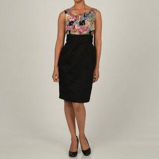 Robbie Bee Womens Career Printed Dress