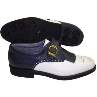 Aerogreen Ladies White/ Blue Classic Buckle Golf Shoes
