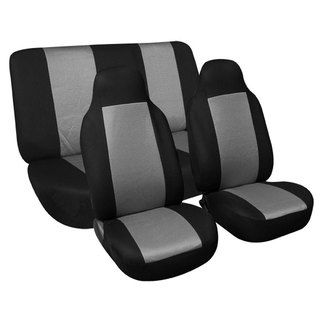 FH Group Premium Grey Fabric Solid Bench Universal Fit Seat Covers